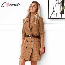 Conmoto Vintage caqui Plaid mujer Blazer vestido 2019 Otoño Invierno Slim Chaqueta larga Check Office Blazer chaqueta Feminino prendas de vestir exteriores
