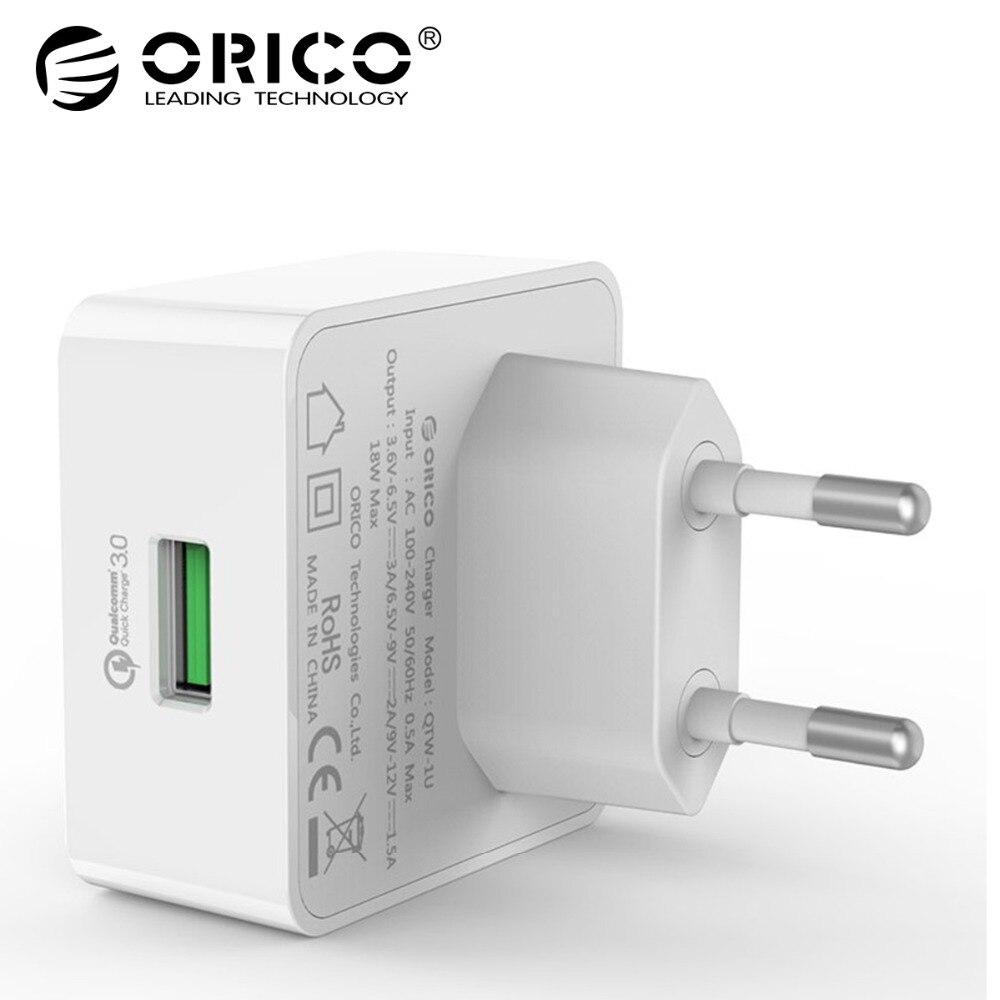 ORICO 1 порт Путешествие стены зарядное устройство с Qualcomm Quick Charge 3,0 м с 1 м бесплатно Micro USB кабель ЕС/США/вилка стандарта UK-белый (QTW-1U)