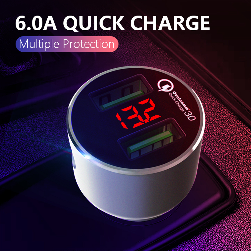 ASINA 36W Dual USB Quick Charge QC 3.0 Car Charger For iPhone Samsung Mobile