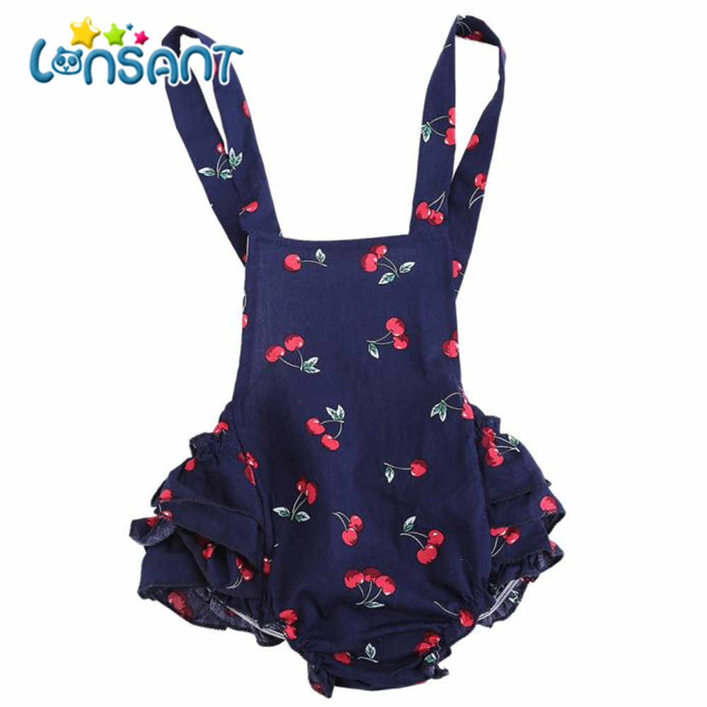 5e8077ac8911 Detail Feedback Questions about LONSANT Cute Sweet Baby Infant Girls Cherry Ruffles  Romper Birthday Party Outfits Jumpsuit Summer Baby Clothes on ...