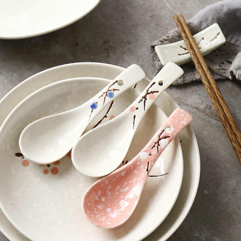 Japanese Ceramic Soup Spoons set of 2 Pink and White