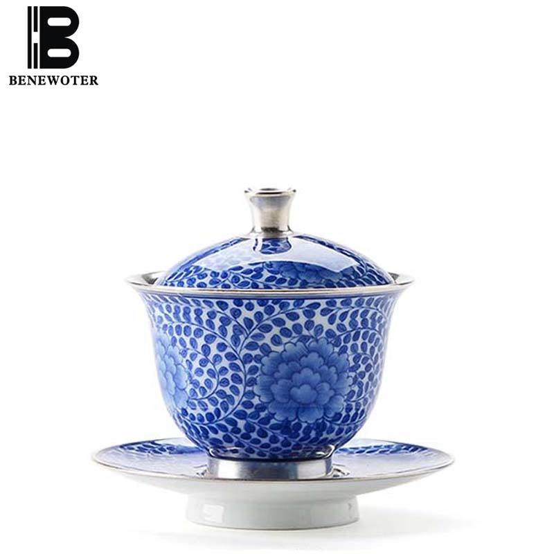100 мл ручной работы Цзиндэчжэнь синий и белый фарфор позолоченного серебра здоровья Gaiwan Чай чаши супница Чай горшок кунг фу Чай свадебные ча