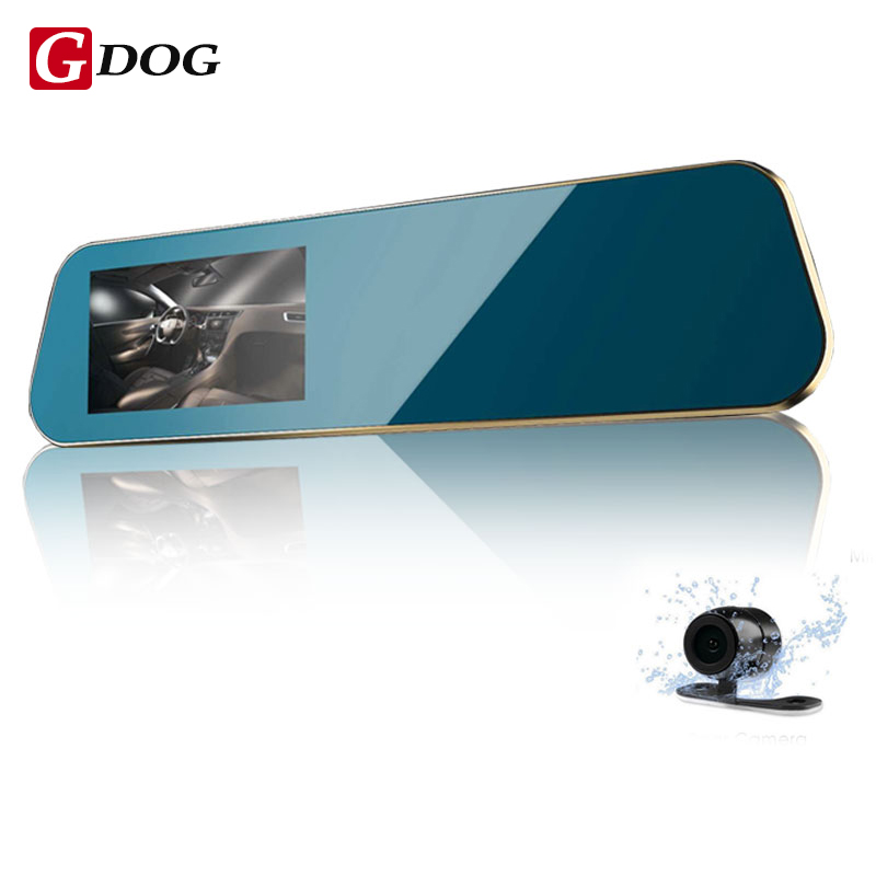 2017 universal Car DVR 4 3 rear view mirror motion detection dual lens cameras HD display
