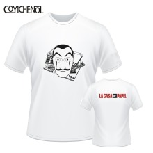 La casa de papel customize print tshirt men 7XL casual short sleeves tops large size solid color top o-neck oversized