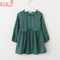 R Z Baby Girls Clothing 2018 New Summer Korean Cotton Longsleeve Plaid Folds 3 10Y Dresses