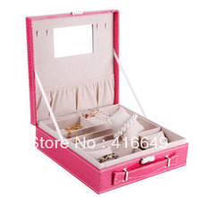 Free shipping Birthday princess fashion wedding gift jewelry box earrings necklaces automatic leather jewelry box gift box
