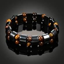 74285ca7ab89 Terapia magnética hematita pulsera mujeres hombres pérdida de peso negro  brazalete de piedra joyería del cuerpo delgado Retro br.