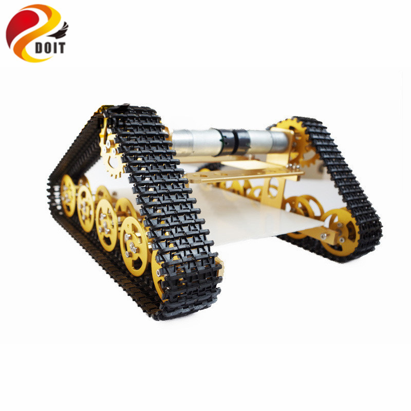 все цены на Official DOIT Updated Version RC Metal Tank Car Chassis Crawler Caterpillar with Hall Sensor Walle Wall-e Car Robot Chassis DIY онлайн