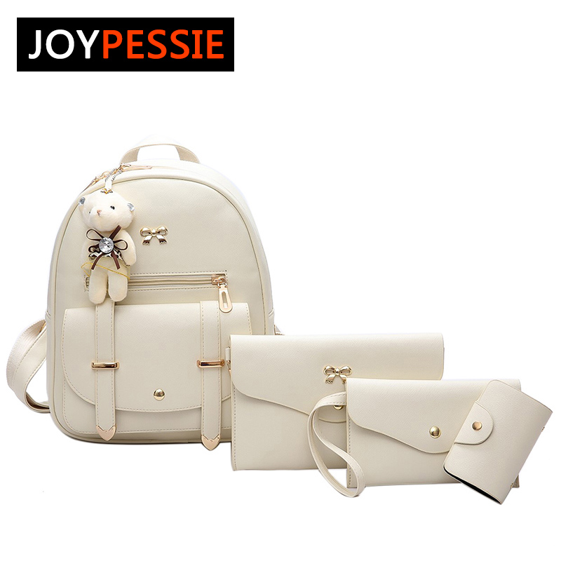 JOYPESSIE 3Pcs/Set Small Women Backpacks female School Bags For Teenage Girls PU Leather Women Backpack Shoulder Bag mn6775 women backpacks fashion pu leather shoulder bag small backpack women embroidery dragonfly floral school bags for girls