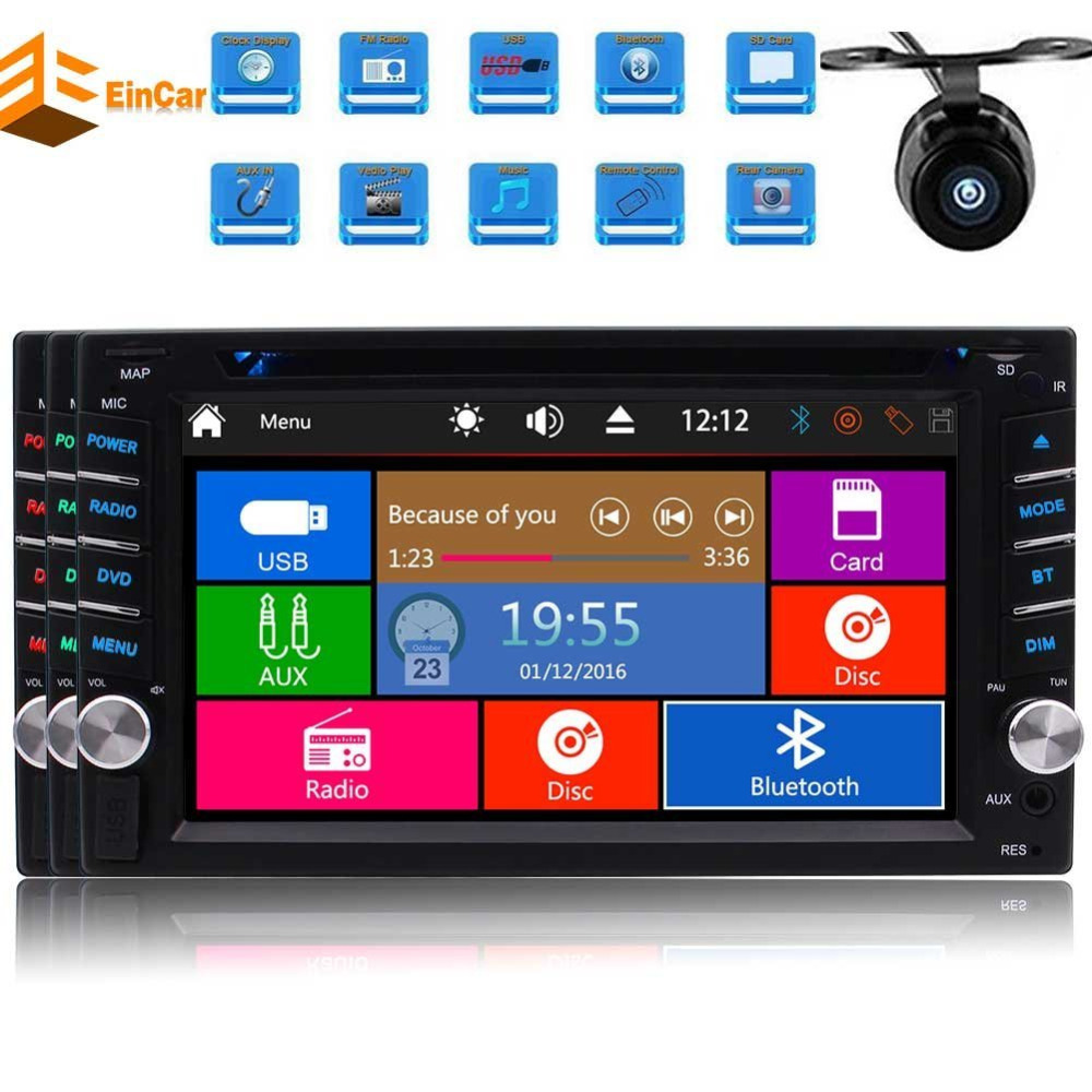 Double din Car DVD Player In dash 6.2'' Head Unit Autoradio Bluetooth FM AM RDS Digital Receiver Radio Stereo USB SD Aux+Camera old version degen de1103 1 0 ssb pll fm stereo sw mw lw dual conversion digital world band radio receiver de 1103 free shipping