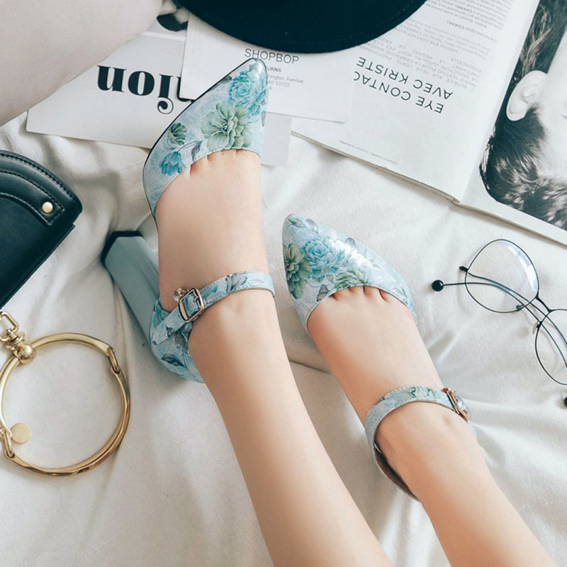2018 Women Pumps High Heels Woman Shoes Brand Spring Pointed Toe Ankle Strap Pumps Flower Thick Heel Wedding Shoes Plus Size 45 7