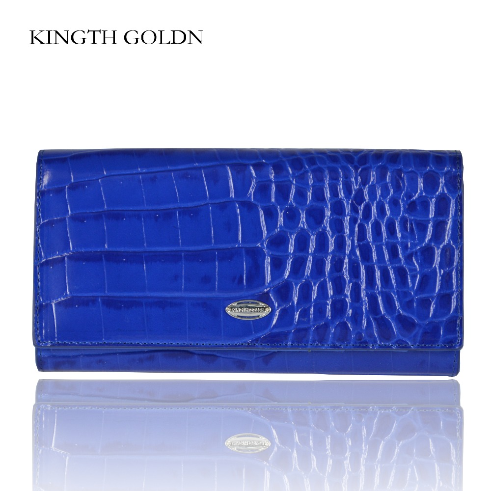 KINGTH GOLDN Genuine Leather Women Wallets Female Purse Long Coin Purses Card Holders Ladies Wallet Fashion Hasp Womens Wallet laamei women wallets ladies long design hasp zipper purses clutch change coin card holders carteras female wallet pu leather