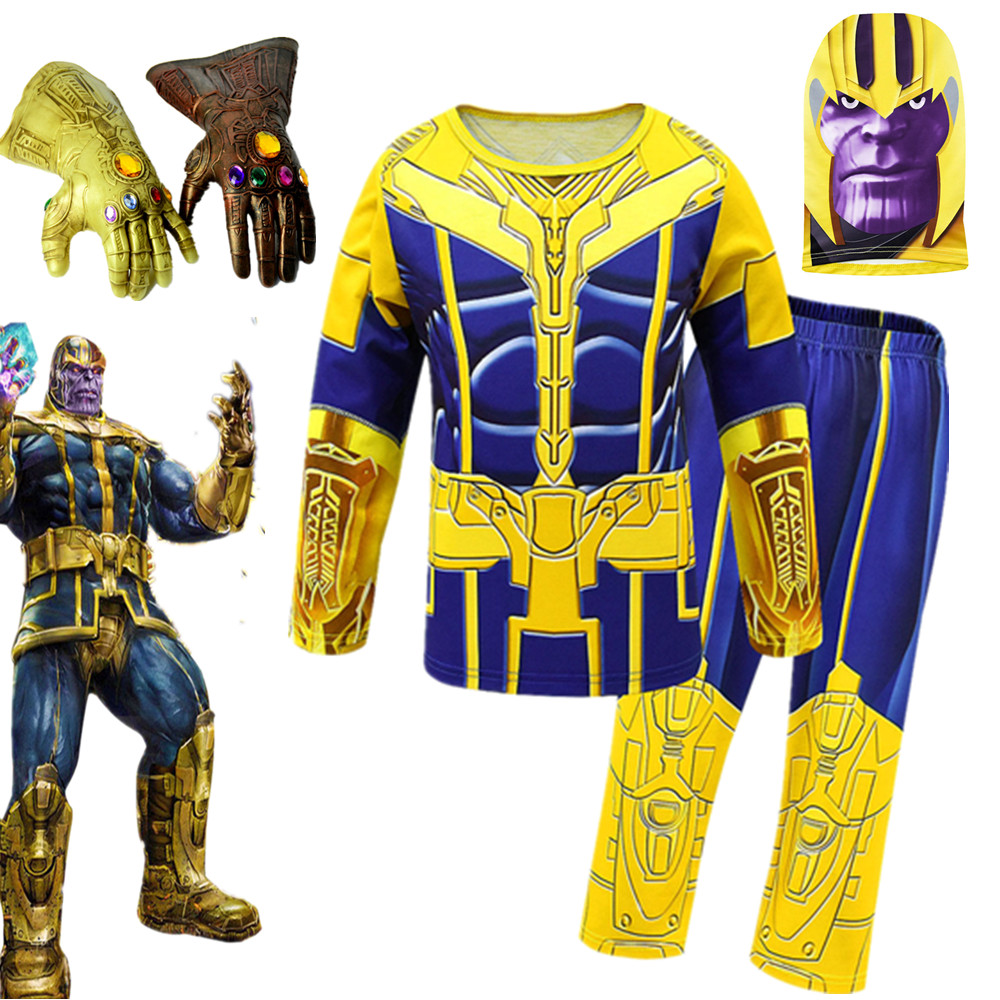Avengers 4 Endgame Thanos Cosplay Costume Adult Kids PVC Gloves Masks Halloween Party Cosplay Kids Jumpsuits Thanos Kids Sets