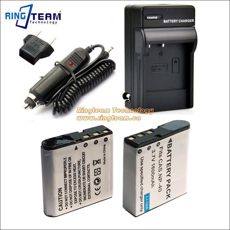 2x Digital Camera Battery NP-40 NP40 w// Charger  for Casio Exilim EX-Z30 EX-Z40