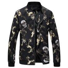 2020 kurtka mężczyźni kwiat drukuj kurtka Bomber moda Slim męskie kurtki i płaszcze Chaquetas Hombres Jaquetas Bomber Plus rozmiar 6XL