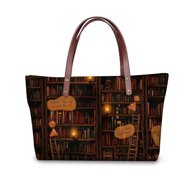 Retro Vintage Women Totes Cross-body Bags Cute Book Shelf Sleepy Kitty Cat Printing Handbags for Ladies Bolsos Mujer