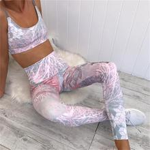 Женская спортивная одежда, спортивный костюм для занятий йогой, спортивный костюм для женщин, спортивный костюм для фитнеса, спортивный костюм с высокой талией, одежда для бега с принтом