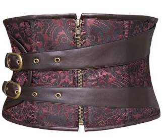 free shipping  Sexy Corset Steampunk Jacquard Gothic Underbust Burlesque Bustier Chains Zip Top