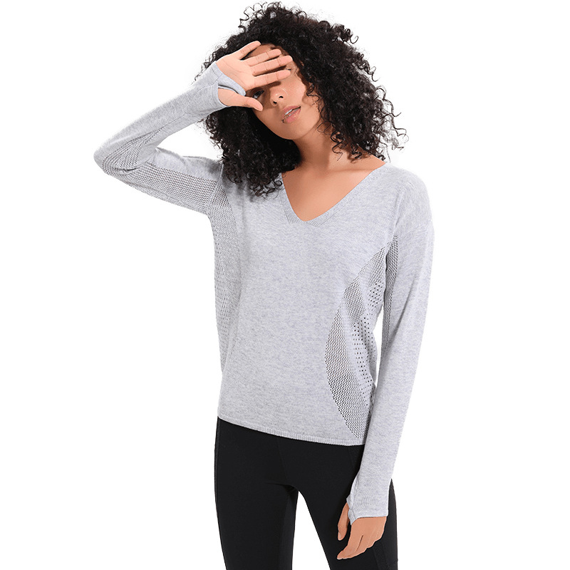 NWT Sexy V Neck Long sleeve tunic tops Sports Hollowout Tank Knitted Pullover Knit Tunic Tops Loose Tee for Fall & Spring season