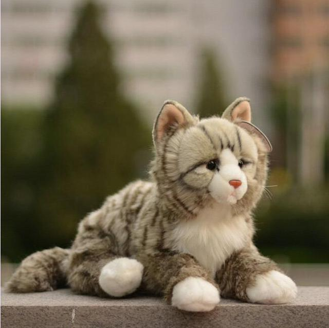 Genuine  Simulation Cat  Plush Toys  Animal  Doll  Squeeze Will Sound   Children'S Toy Car Gift