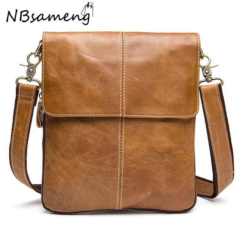 ФОТО New Fashion 2017 Mens High Quality 100% Genuine Cowhide Leather Handbag Vintage Shoulder Bag For Men Crossbody Bag Briefcase