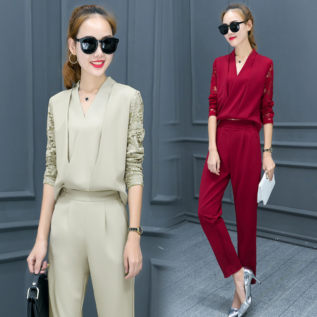 2017 mulheres 2 peça set mulheres terno feminino manga longa rendas roupa de trabalho calças two-piece set calças pé pode remover jumpsuits
