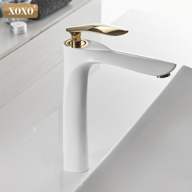 XOXO robinets de bassin froid et chaud mitigeur monotrou noir blanc or mitigeur pour salle de bains robinets évier 20055-1