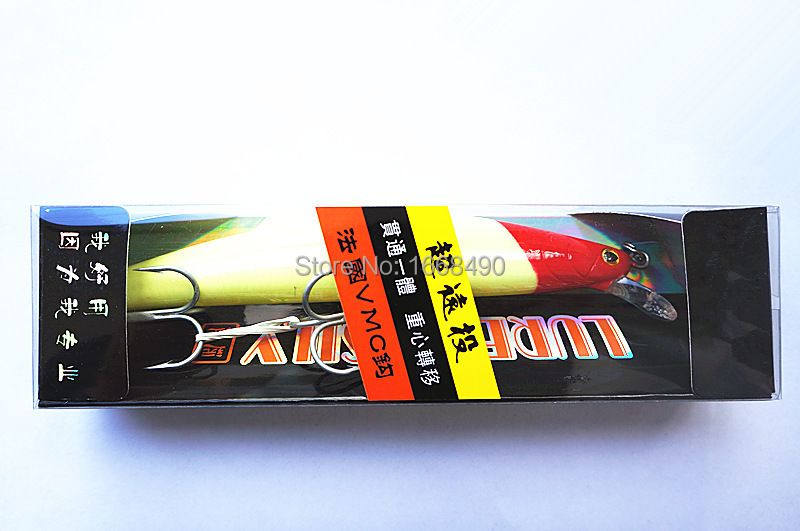 Minnow Bait Fishing lure Fishing tackle Deep Swim Bait VMC Hook 14cm/30g Sinking Type Yellow Body With Red Head Color
