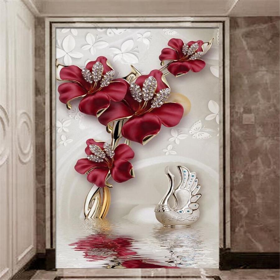 Wellyu Custom Large-scale Wallpaper 3D Photo Mural обои Atmosphere Beautiful Orchid Jewelry Flower Water Pattern Wallpaper Mural