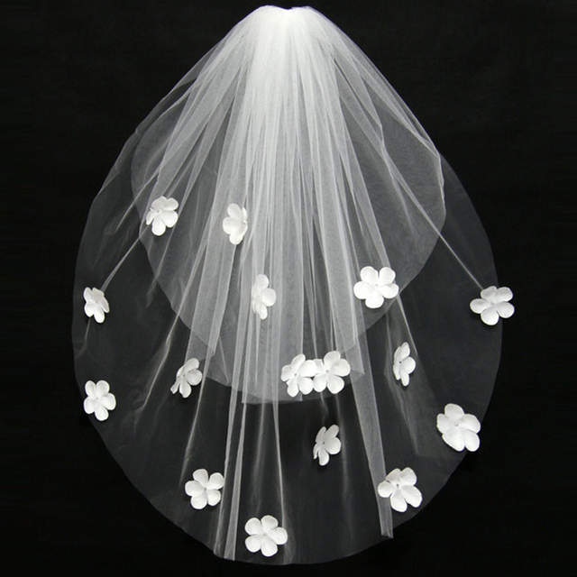JAEDEN Bridal Veils Two Layers Scattered with Satin Flowers Crystal Cut Edge Light Ivory Bridal Veils Wedding Accessory V036