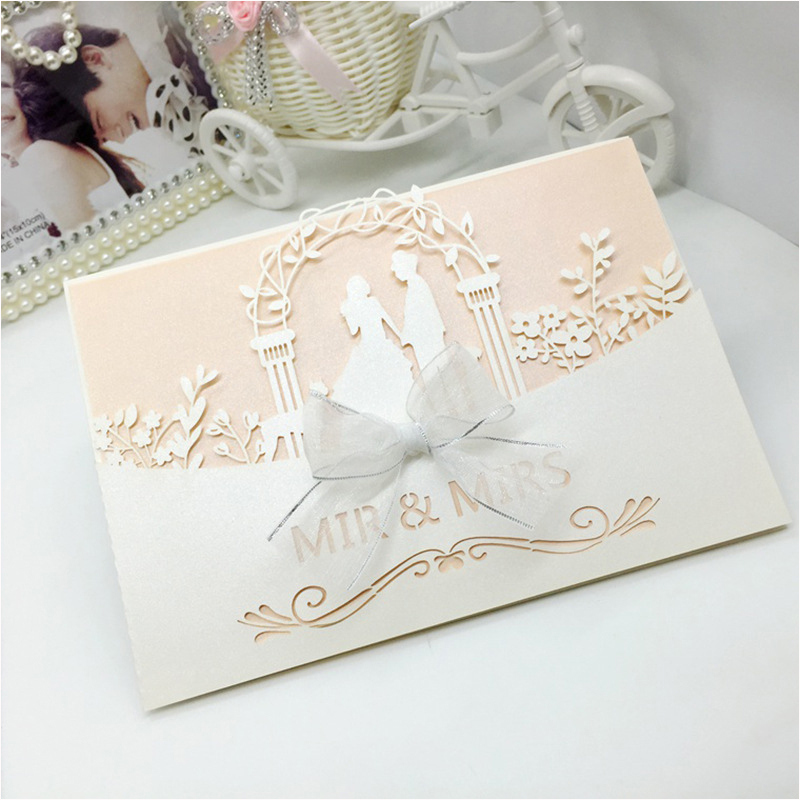 100pc Sweet Couple Wedding Invitations Cards Cover Laser