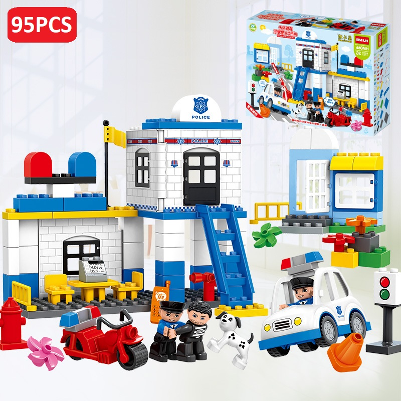 95pcs Duplo City Central Police Building Blocks Large particles bricks Toys for children Educational Baby gifts Compatible Legos compatible lepin city block police dog unit 60045 building bricks bela 10419 policeman toys for children 011