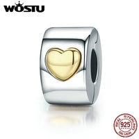WOSTU High Quality 925 Sterling Silver Only Love Heart Clip Beads Fit Original Pandora Charm Bracelet