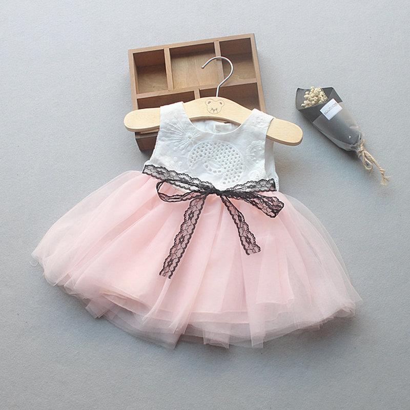 New Baby Girl Ball Gown Dresses Pink White Grey Bow Party Pageant Dress Little Kids Children Dress for Party Wedding Size 6M-24M