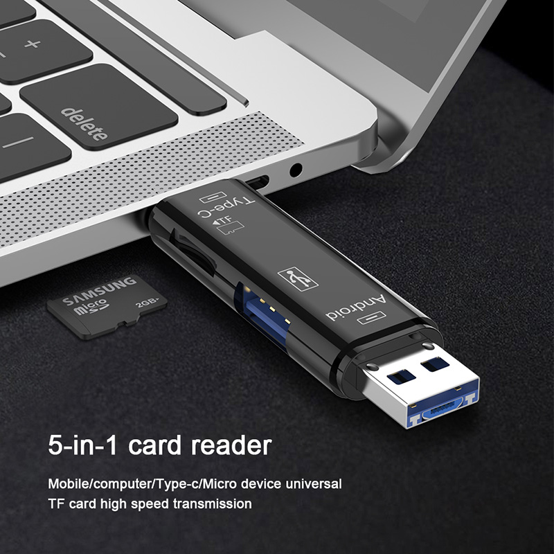 <font><b>5</b></font> in <font><b>1</b></font> Micro SD Card Reader Adapter Type C Micro <font><b>USB</b></font> SD Memory Card Adapter for MacBook Laptop <font><b>USB</b></font> 3.0 SD/TF OTG Card Reader image
