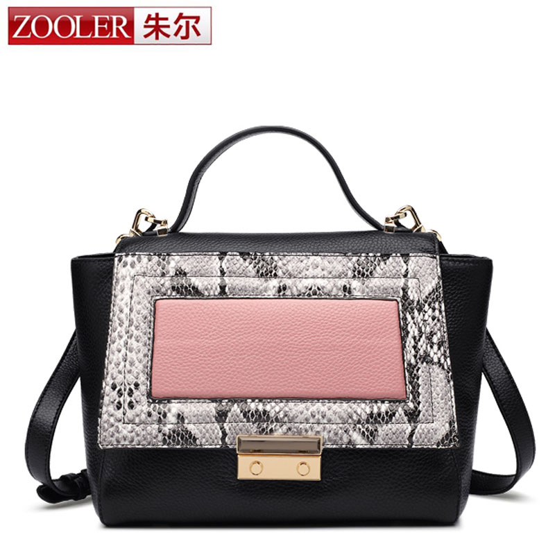 ZOOLER Brand Elegent Ladies 100% Genuine Leather Designer Serpentine Pattern Bag for Women with Cover Hasp Sweet Female Flap Bag 2015 new brand female elegent style 100