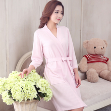 4cd51c7c34a Lovers Summer Cotton Waffle Bathrobe Women Suck Water Kimono Bath Robe Plus  Size Sexy Peignoir Dressing Gown Bridesmaid Robes