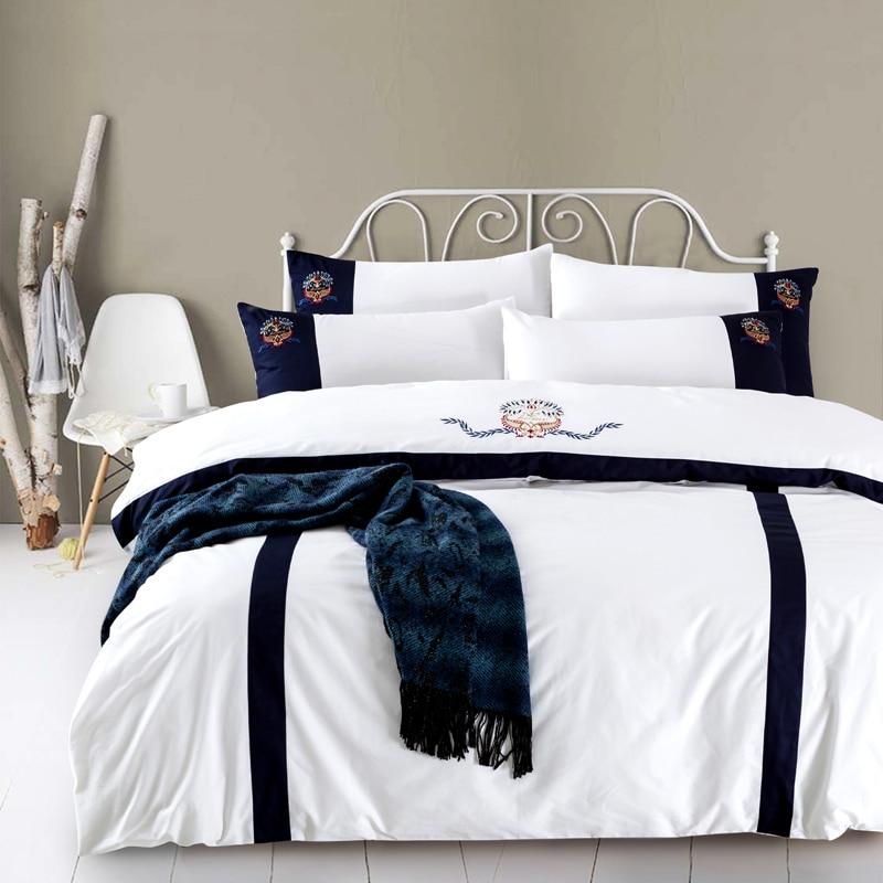 100% Cotone Ricamato Moderno Hotel Bedding set King size Regina 4 Pz copripiumino lenzuolo set Pillow shams 36100% Cotone Ricamato Moderno Hotel Bedding set King size Regina 4 Pz copripiumino lenzuolo set Pillow shams 36