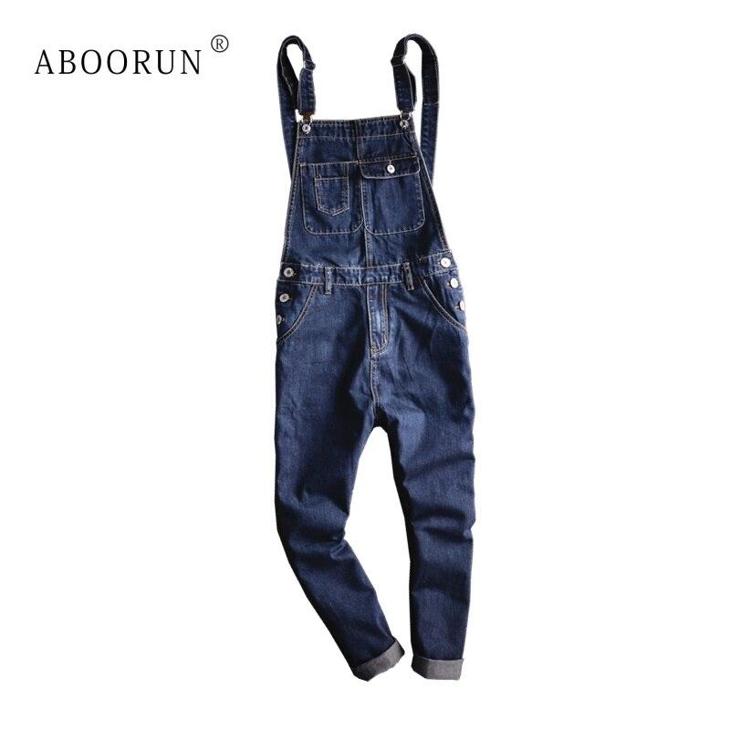 ABOORUN Men's Plus Size Big Pockets Bib Denim Overalls Casual Working Coveralls Suspenders Jeans Jumpsuits Blue Male Jeans
