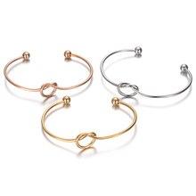 30 unids/lote de pulseras abiertas de alambre con nudo de corazones de acero inoxidable, brazaletes de pulsera DIY, brazaletes con nudo para fabricación de joyas