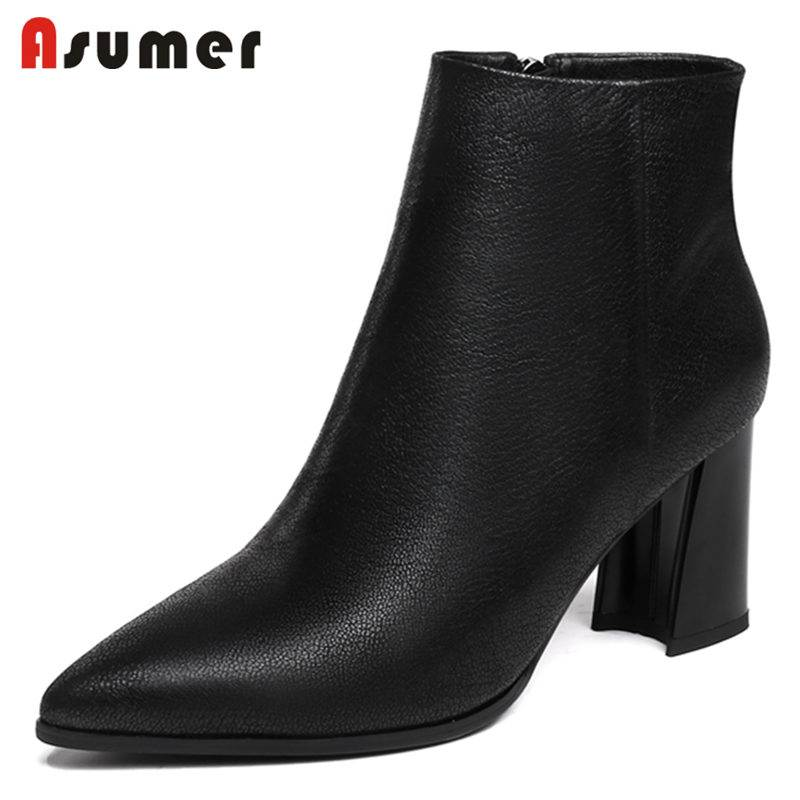 ASUMER NEW 2018 fashion zipper genuine leather boots pointed toe ankle boots women thick high heels winter boots SIZE 33-43ASUMER NEW 2018 fashion zipper genuine leather boots pointed toe ankle boots women thick high heels winter boots SIZE 33-43