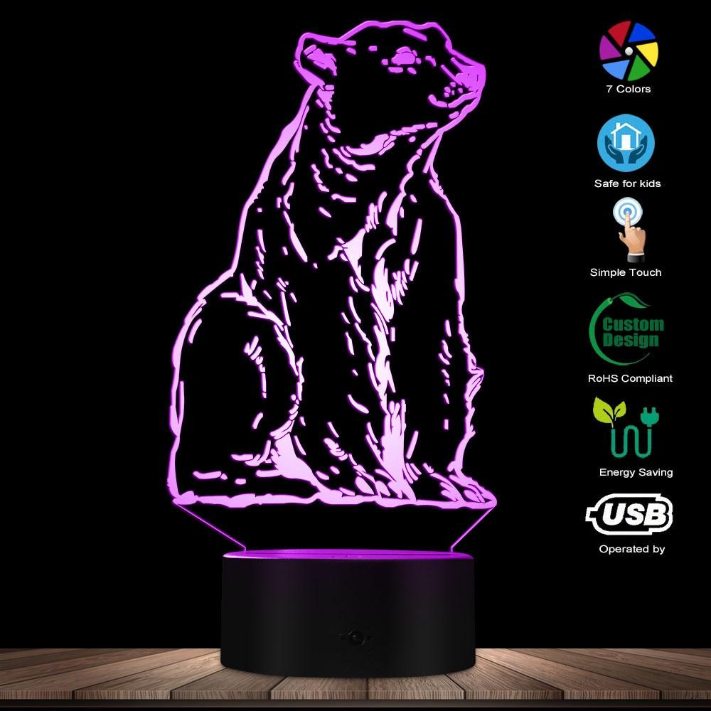 Animal Totem Polar Bear Night Light 3D Effect Optical Illusion The White Bear Desk Lamp Kid Room Nightlight Animal Themed Lamp