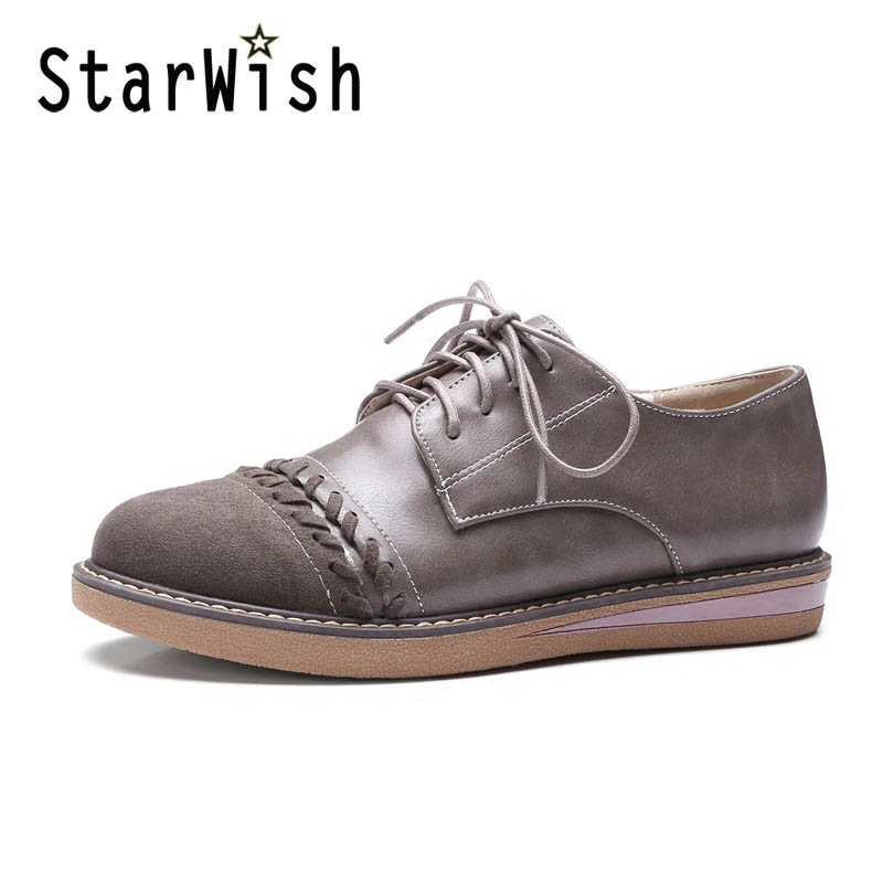 ФОТО STARWISH New Women Casual Lace Up Flats Vintage England Style Patchwork Campus Shoes Ladies Daily Leisure Flat Shoes Size 34-42