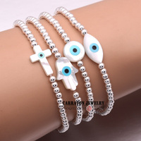New Fashion Elastic String Mother Of Pearl Shell Hamsa Hand Of Fatima Evil Eye With 925