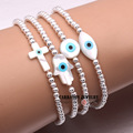 New Fashion Elastic String Mother of Pearl Shell Hamsa Hand of Fatima Evil Eye Cross with 925 Sterling Silver Bead Bracelet