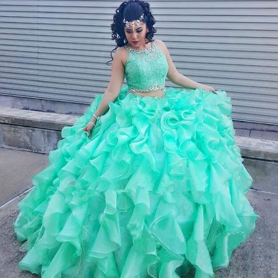 13167a9f901 Two Pieces 2018 Ball Gown Quinceanera Dresses Mint Dresses Sweet 16 Dresses  Beading For 15 16 Organza vestidos de 15 anos M905