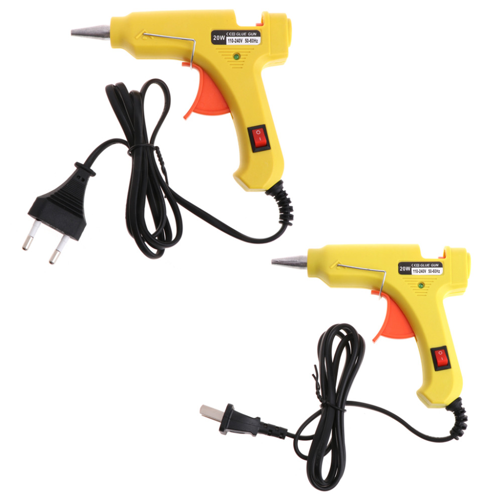 Hot 20W 110V-240V Melt Glue Gun Plastic Heating Up Electric Craft Repair Tools For 7mm Glue Sticks With US/EU Plug