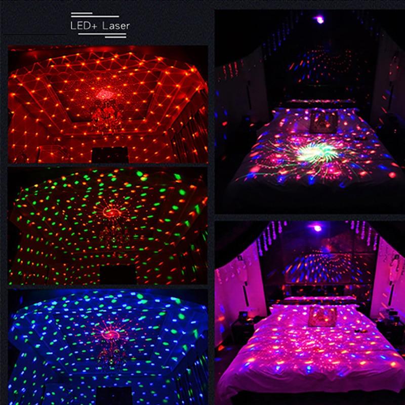 Nouveau LED Laser boule magique lumières colorées fête d'anniversaire décoration ciel étoilé lampe de Projection lueur fête fournitures lumières de scène
