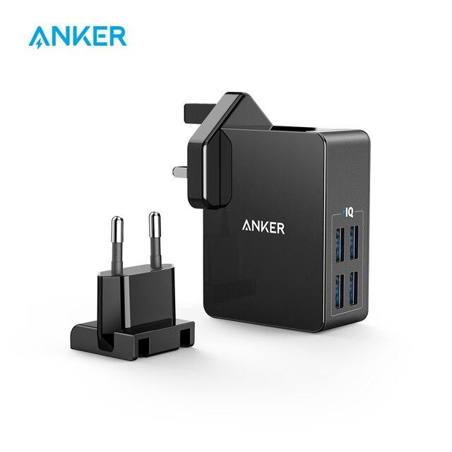 Cargador de pared USB de 4 puertos Anker 27 W PowerPort 4 Lite con enchufes intercambiables UK y EU para iPhone galaxy iPad HTC Huawei LG, etc.