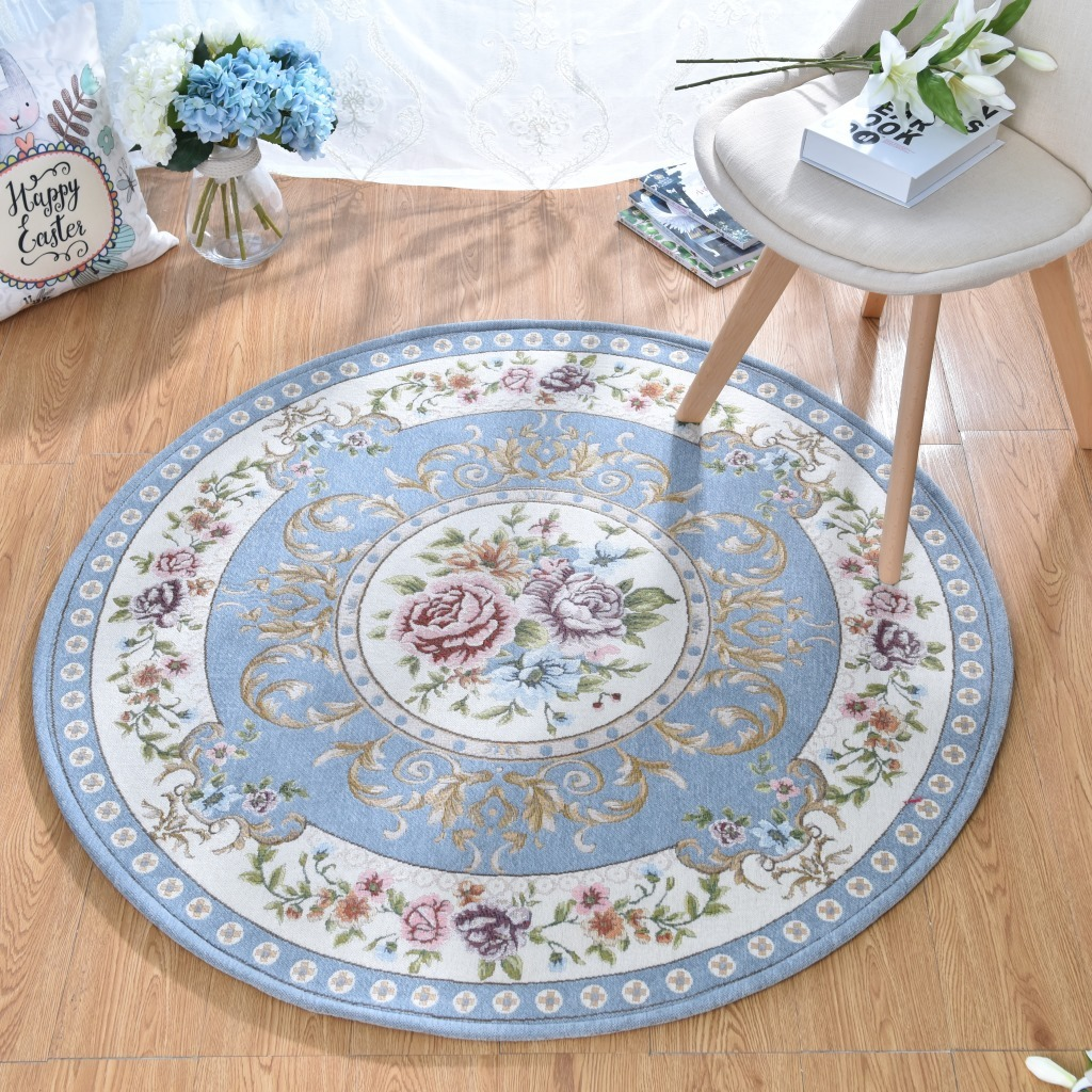 New Europe Jacquard Round Carpet for Acrylic tapis Parlor Living Room Bathroom Mats Chair Rug Home Hotel Decorate Doormat tapete
